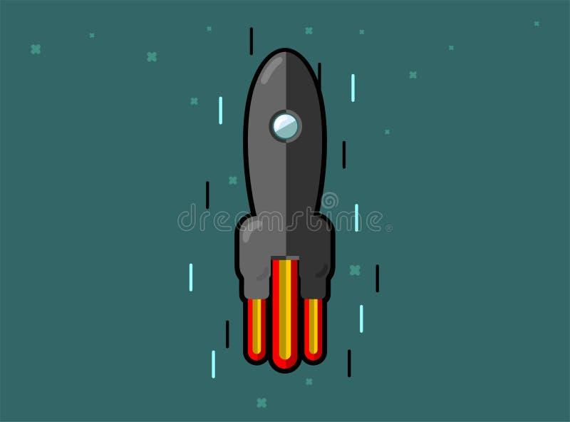Raketskeppabstractionism Svart raketlansering f?r utrymme Projektet startar upp ocks? vektor f?r coreldrawillustration vektor illustrationer
