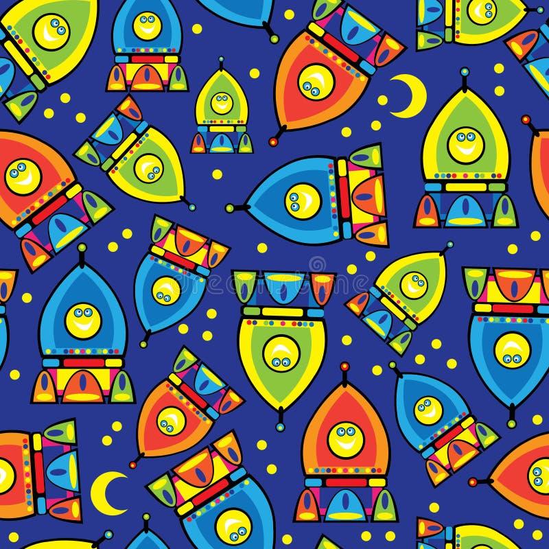 Raketstuk speelgoed van naadloos patroon royalty-vrije illustratie