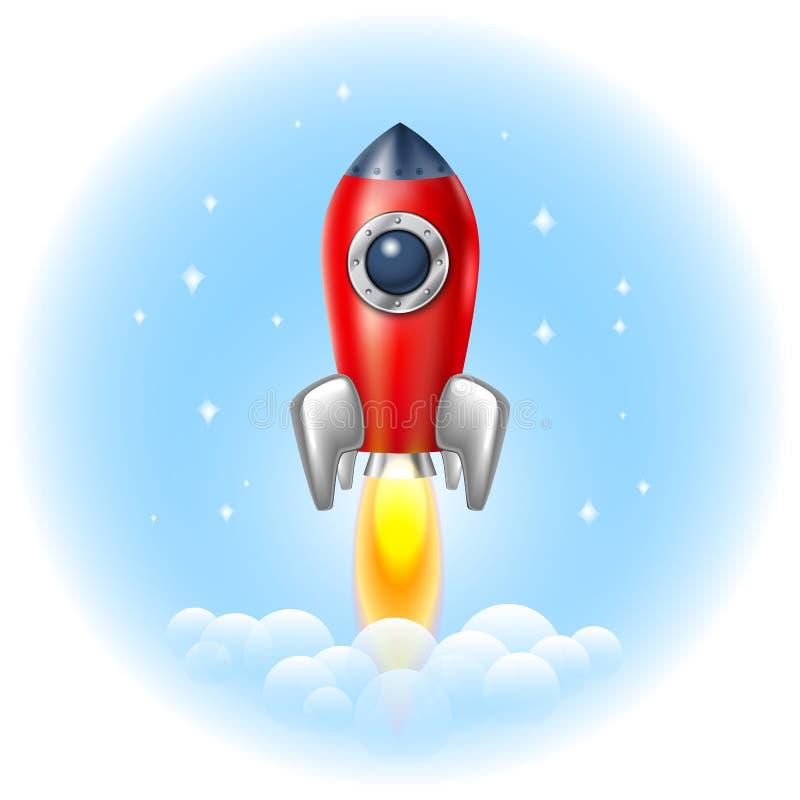 Raketsymbolsutrymme, vektor, illustration, brand, symbol, flamma, tecknad film, stock illustrationer
