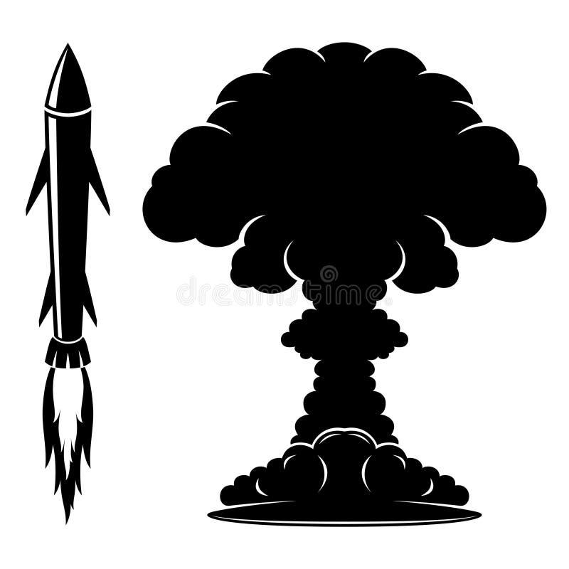 Raketteken en explosie stock illustratie