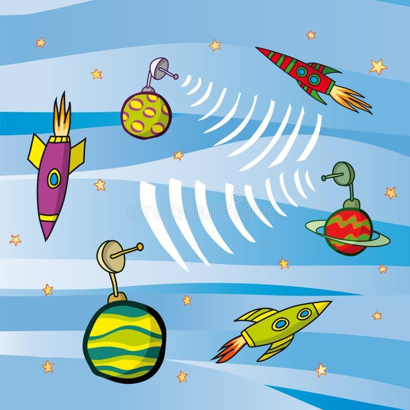Raketten en planeten royalty-vrije illustratie