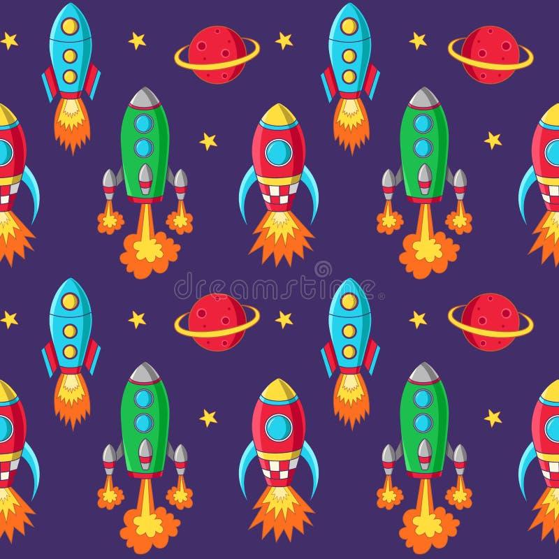 Raketten naadloos patroon royalty-vrije illustratie