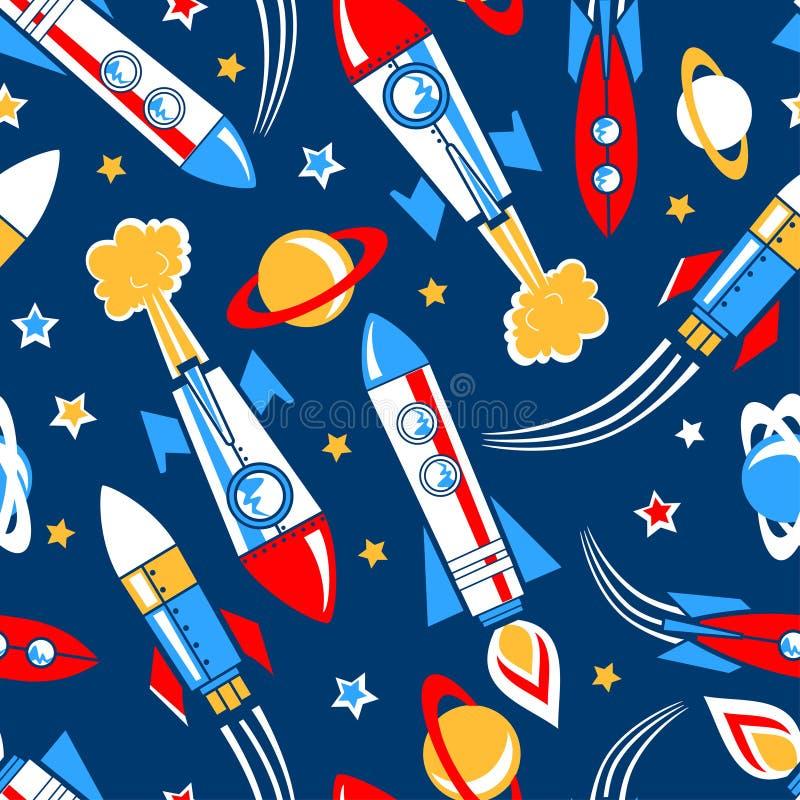 Raketten in ruimte naadloos patroon royalty-vrije illustratie