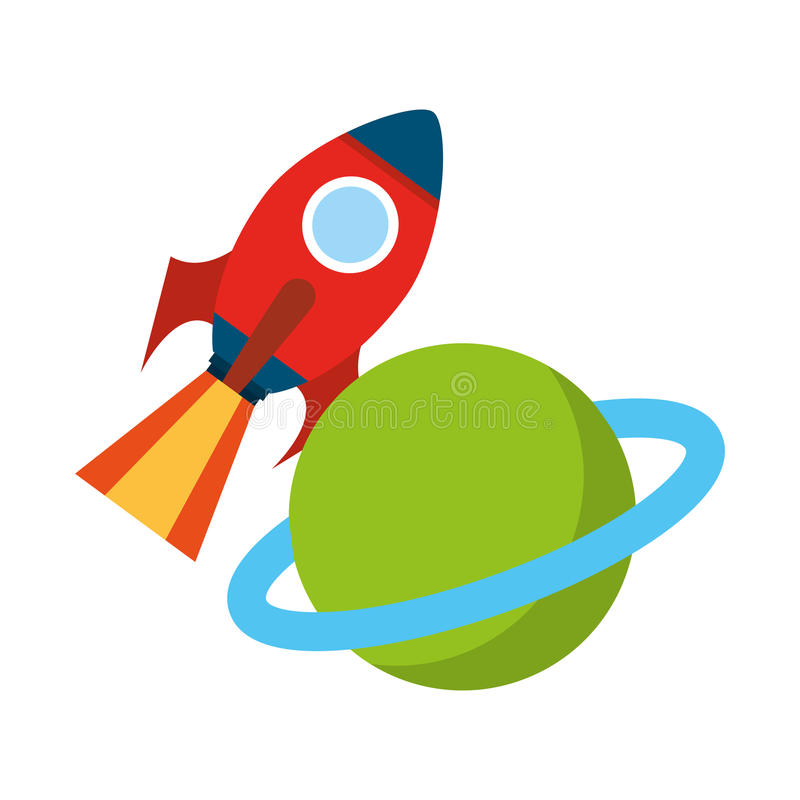 Raketutrymme med den saturn planeten stock illustrationer