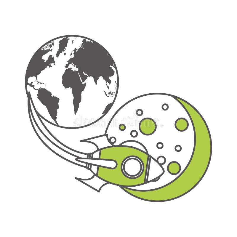Raketutrymme med planetjord royaltyfri illustrationer