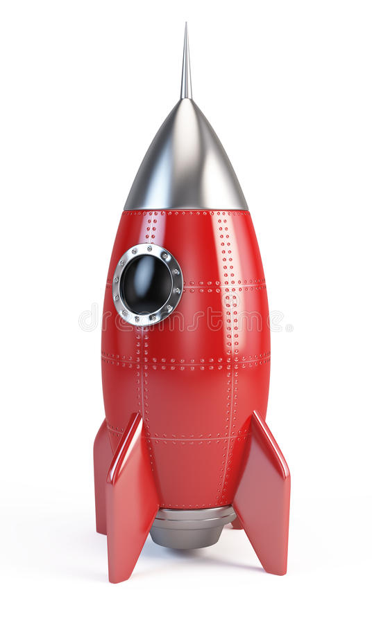 Raketutrymmeskepp royaltyfri illustrationer