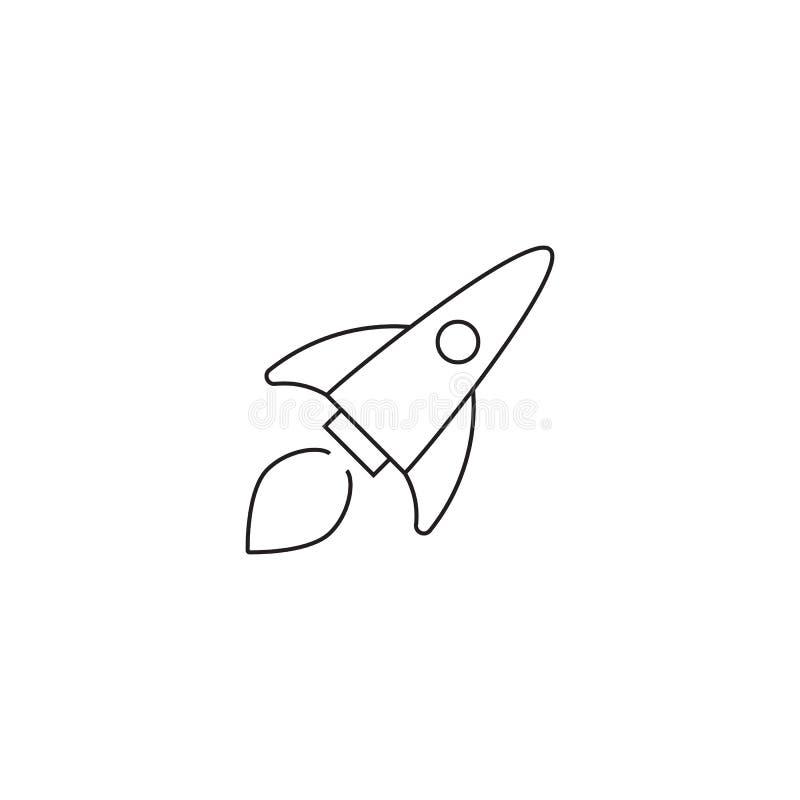 Raketvektorsymbol som isoleras på vit bakgrund royaltyfri illustrationer