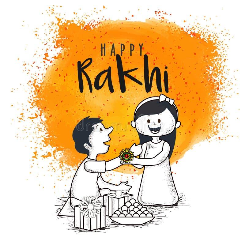 Rakhi、印地安兄弟和姐妹节日Raksha Bandhan概念 皇族释放例证