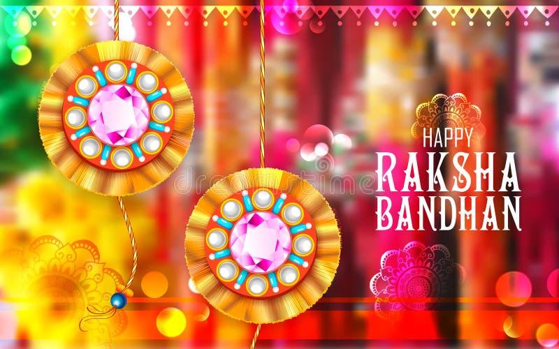 Rakhi decorativo para o fundo de Raksha Bandhan ilustração royalty free