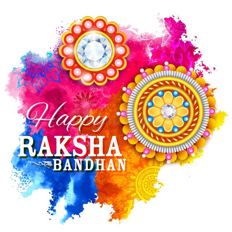 Rakhi decorativo para o fundo de Raksha Bandhan ilustração do vetor