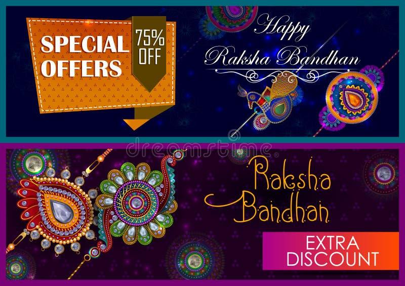 Rakhi elegante para a ligação do irmão e da irmã no festival de Raksha Bandhan da Índia ilustração royalty free
