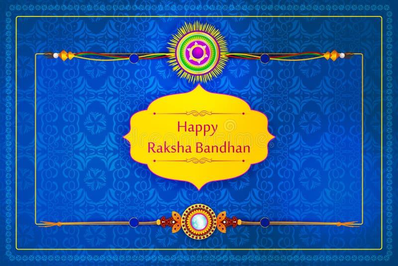 Rakhi elegante para a ligação do irmão e da irmã no festival de Raksha Bandhan da Índia ilustração do vetor
