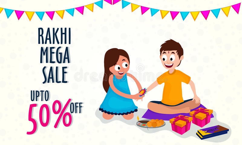 Rakhi Mega Sale Poster, baner eller reklamblad royaltyfri illustrationer