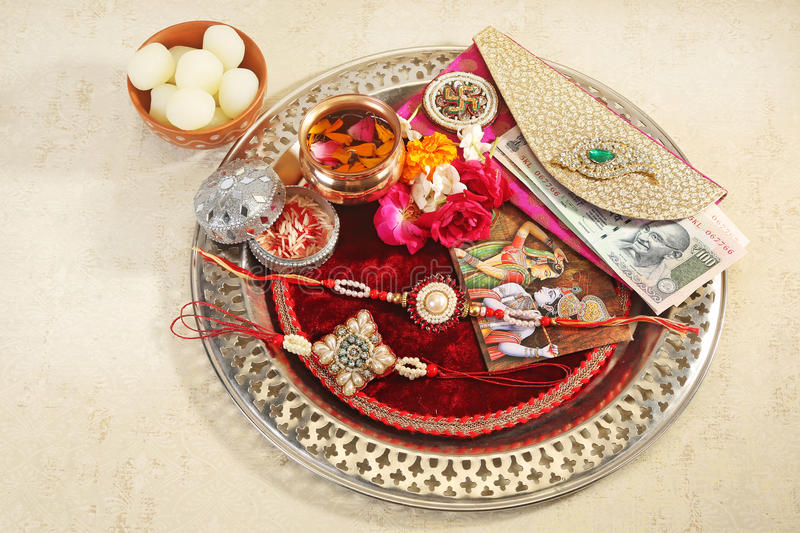 Rakhi or Rakshabandhan - Indian Traditional Festival. A rakhi is traditionally tied by a sister to her brother on the Raksha-Bandhan festival day in India royalty free stock images