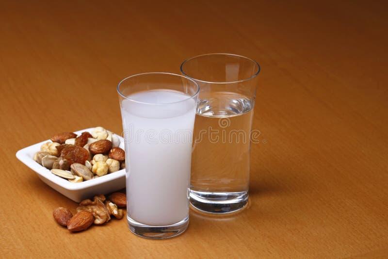 Raki y agua con frutos secos imagen de archivo