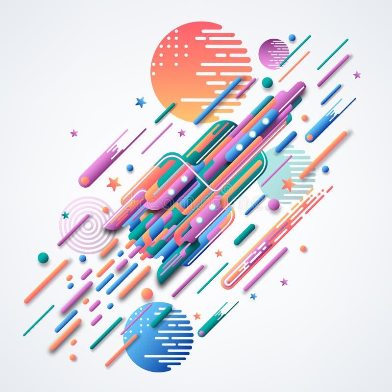 rakieta Futurystyczny wektorowy wizerunek Abstrakcjonistyczny 3D wizerunek rakieta Jaskrawi wyginający się geometryczni kształty ilustracja wektor