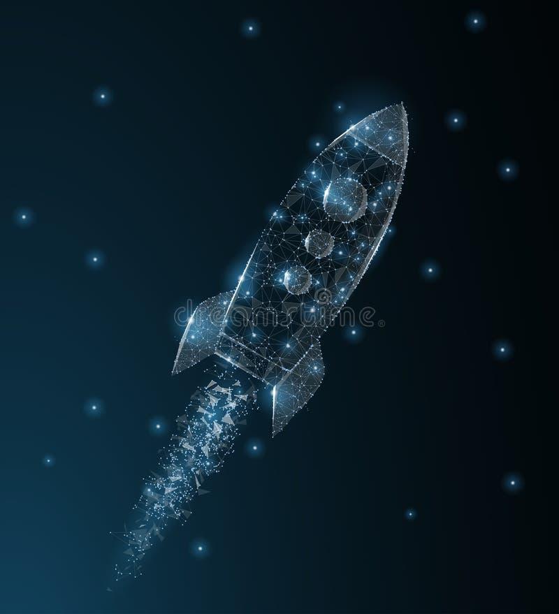 rakieta Poligonalna wireframe siatki sztuka Biznesowy rozpoczęcie, astronomia, innowaci pojęcia ilustracja lub tło, royalty ilustracja