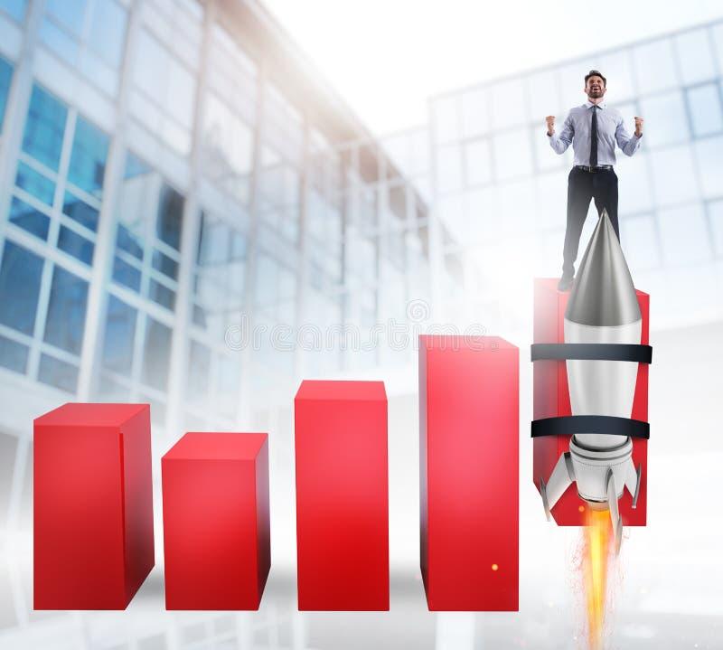 Rakieta pomaga ulepszać biznesową statystyki rosnąć w górę zdjęcie royalty free