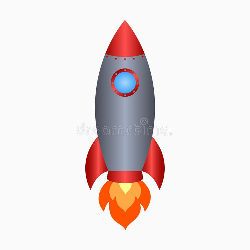 rakieta Statek kosmiczny zdejmował z ogieniem Barwiona astronautycznego statku ikona wektor royalty ilustracja