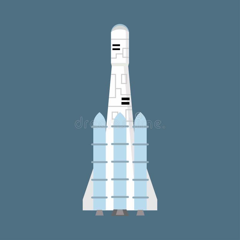 Rakietowa astronautyczna symbol sztuki statku kosmicznego wodowanie komarnica Eksploracja statku wahadłowa wektoru ikony futuryst royalty ilustracja