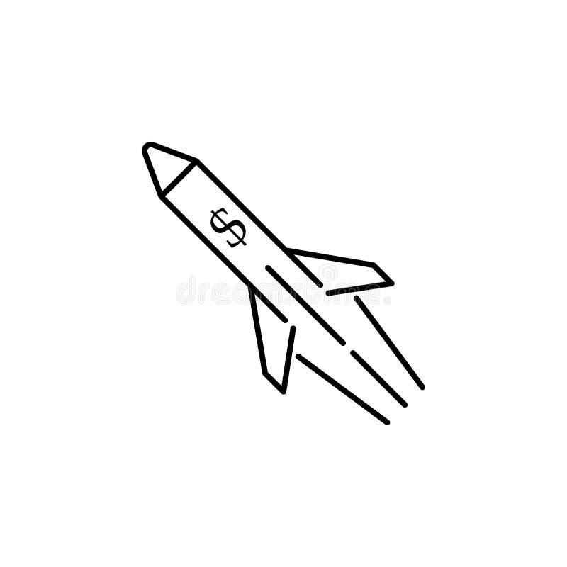 rakietowa dolarowa konturu stylu ikona Element waluty wojenna ikona dla mobilnych pojęcia i sieci apps Cienkiej linii rakiety kon ilustracja wektor