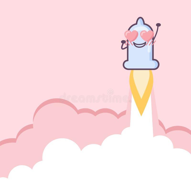 Rakietowa kondom kreskówka royalty ilustracja
