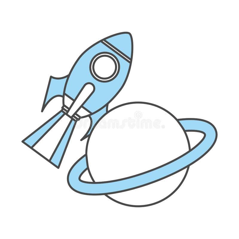 Rakietowa przestrzeń z Saturn planetą ilustracji