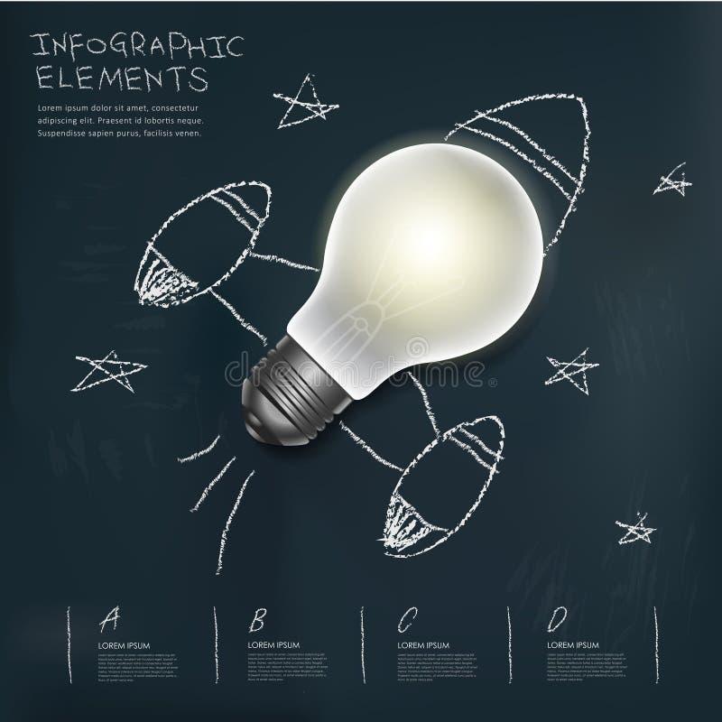 Rakietowej żarówki infographic elementy na blackboard ilustracji