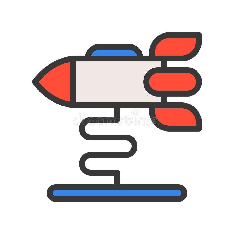 Rakietowej przejażdżki wektorowa ikona, wypełniający konturu stylu editable uderzenie ilustracja wektor