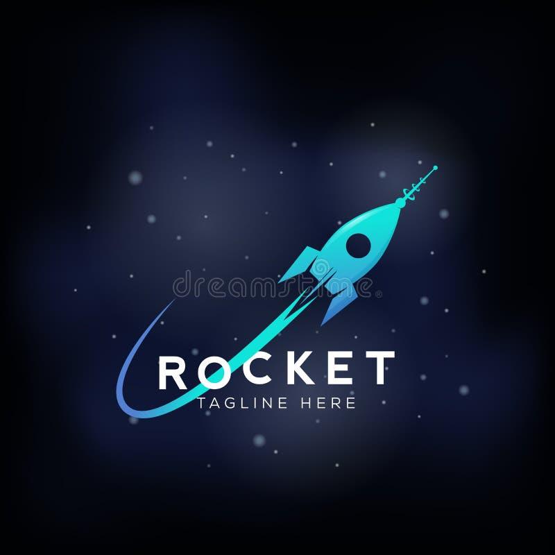 Rakietowy Astronautycznego statku wektoru Abstrakcjonistyczny znak, ikona lub symbol, ilustracji
