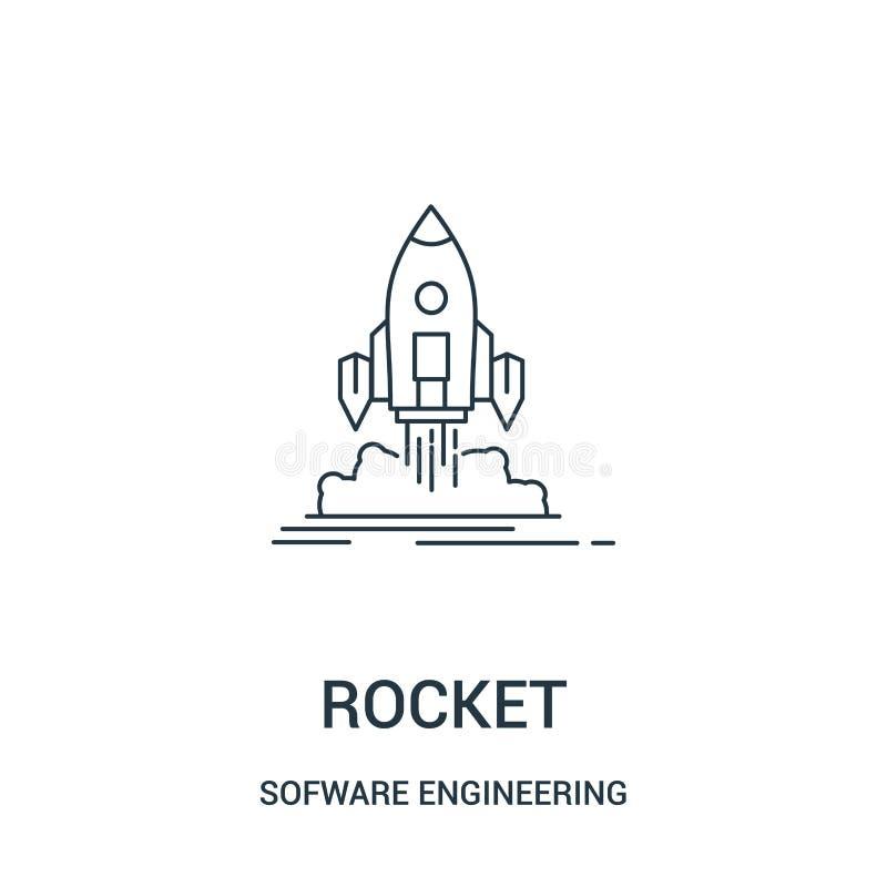 rakietowy ikona wektor od oprogramowanie inżynierii hazardu wideo kolekcji Cienka linii rakiety konturu ikony wektoru ilustracja  royalty ilustracja