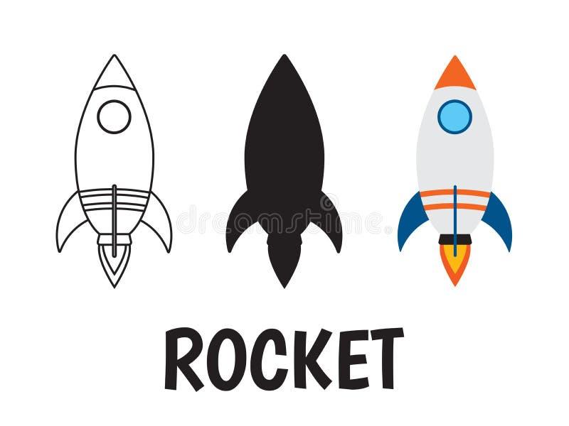Rakietowy logo ikony set royalty ilustracja