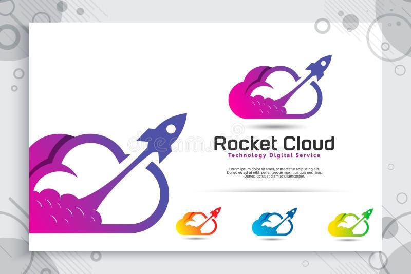 Rakietowy obłoczny wektorowy logo z stylem, ilustracji chmurą i rakietą jako symbol ikona cyfrowy szablon kolorowym i prostym, ilustracji