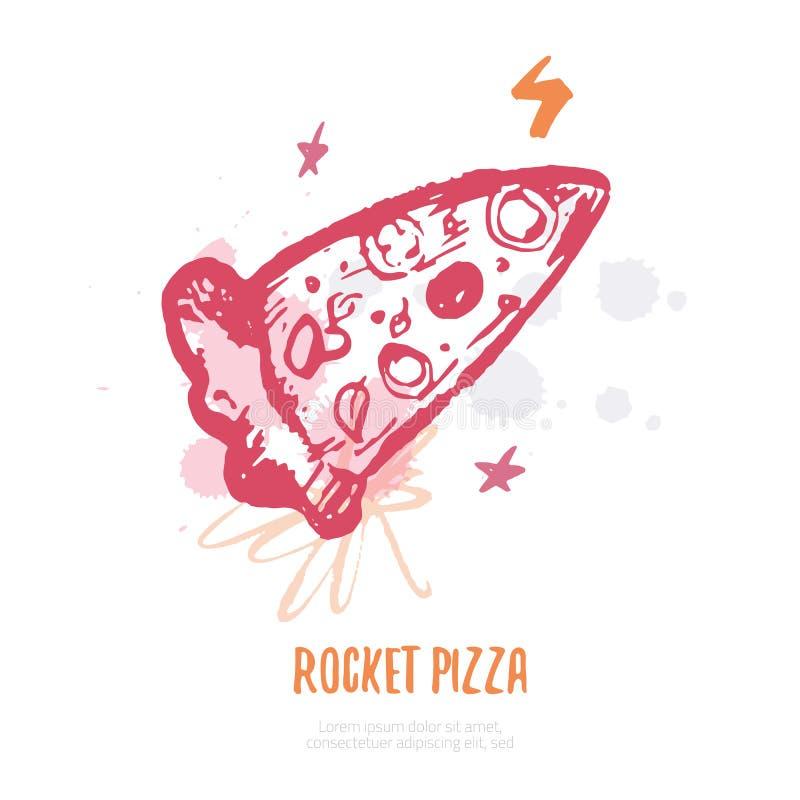Rakietowy pizzy pojęcia logo z pluśnięciami, grunge ręka rysująca wektorowa ilustracja ilustracja wektor