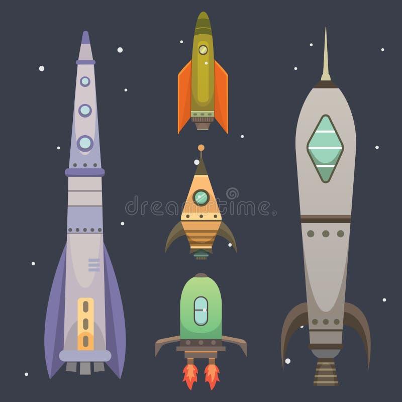 Rakietowy statek w kreskówka stylu Nowego biznes innowaci rozwoju projekta ikon Płaski szablon astronautyczni statki ilustracji