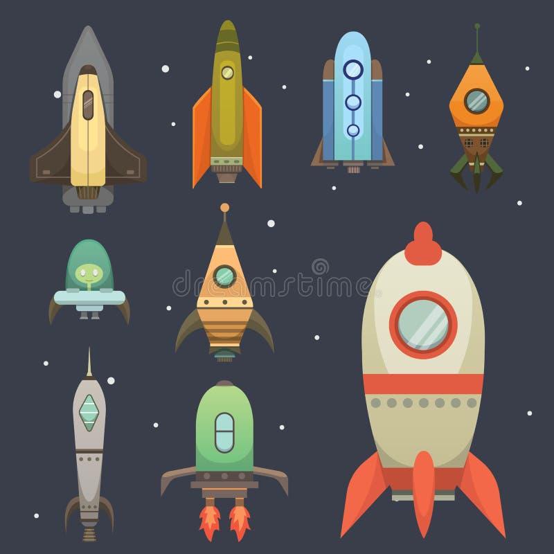 Rakietowy statek w kreskówka stylu Nowego biznes innowaci rozwoju projekta ikon Płaski szablon astronautyczni statki ilustracja wektor