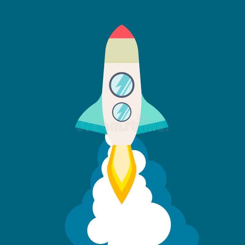 Rakietowy statek w płaskim stylu Wektorowa ilustracja z 3d lataniem Podróż kosmiczna księżyc wodowanie Projekt zaczyna up i royalty ilustracja