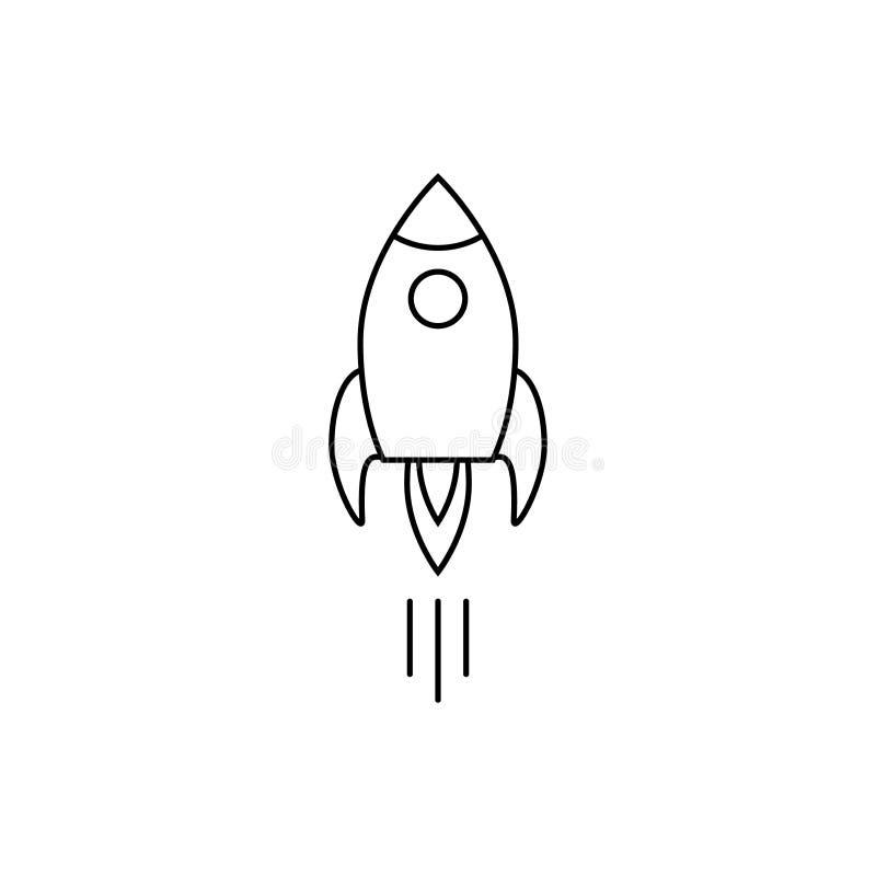 Rakietowy statek z pożarniczego konturu ikony biznesowego rozpoczęcia pojęcia podróży kosmicznej wektorowym symbolem dla graficzn royalty ilustracja