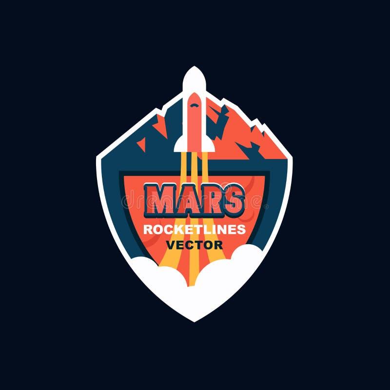 Rakietowy wodowanie Mars Wektorowy loga projekt dla przyszłościowej misi Mars, promo wydarzenia, gry, etykietka, kreskówki odznak zdjęcie royalty free
