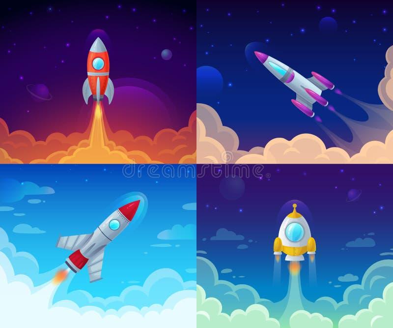 Rakietowy wodowanie Podróż kosmiczna, galaxy rocketship i planu biznesowego sukces, zaczynamy wektorową kreskówki pojęcia ilustra royalty ilustracja