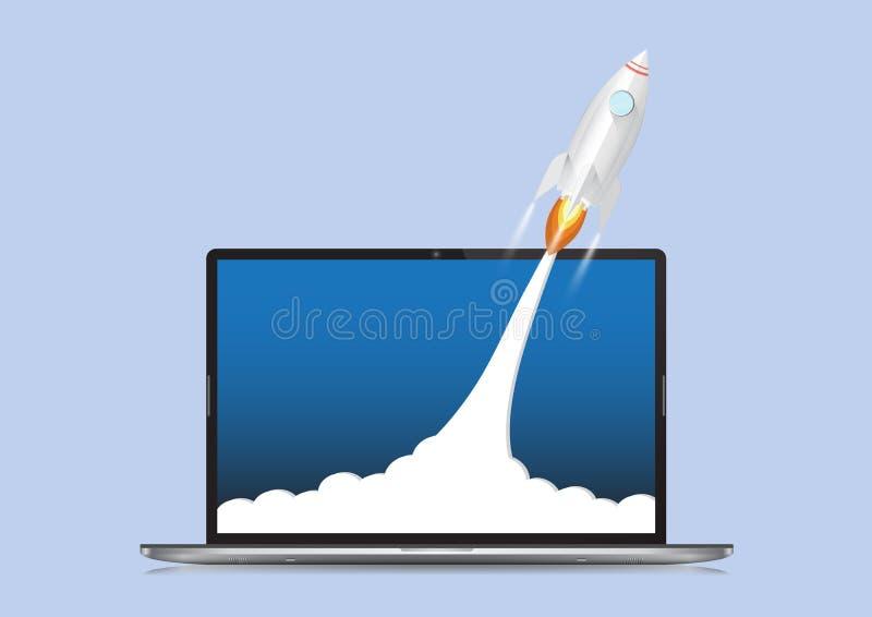 Rakietowy wszczynać od laptop wektorowej ilustracji, projekt zaczyna w górę i przywódctwo biznesu pojęcie obraz stock