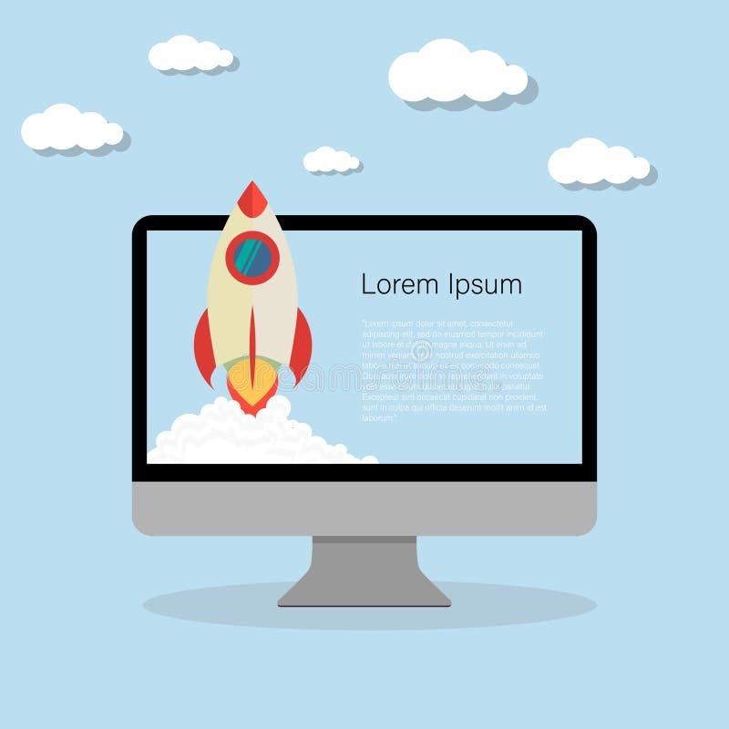 rakietowy wszczynać zaczyna w górę komputerowego płaskiego projekta ilustracja wektor
