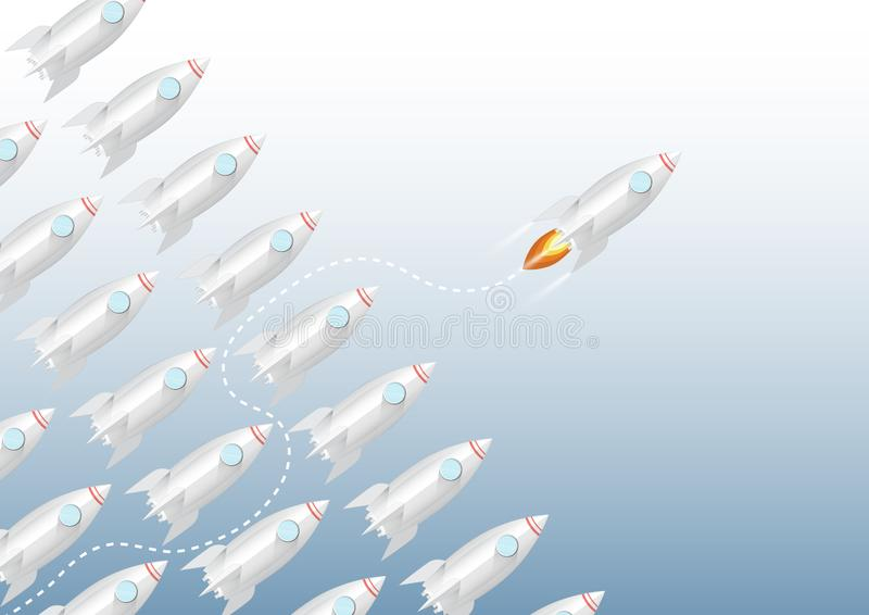 Rakiety turniejowe z jeden rakietowym naprzód, biznesowy turniejowy przywódctwo ambitny pomyślny bramkowy pojęcie obraz royalty free