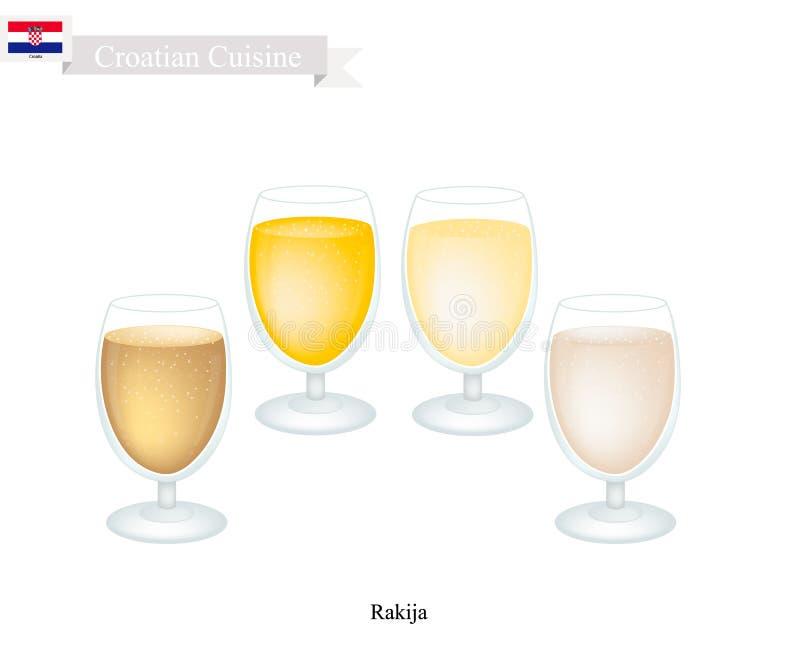 Rakija lub Owocowy Brandy, Popularny napój w Chorwacja royalty ilustracja