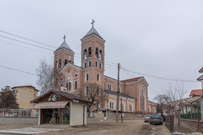 RAKOVSKI, BULGARIEN - 31. DEZEMBER 2016: Die Roman Catholic-Kirche von St Michael der Erzengel in der Stadt von Rakovski lizenzfreies stockfoto