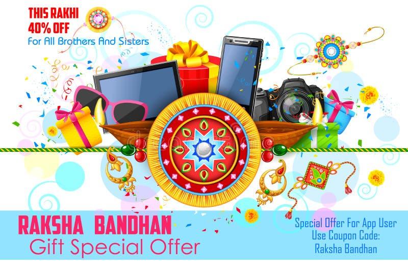 Raksha Bandhan推销活动横幅的装饰rakhi 库存例证