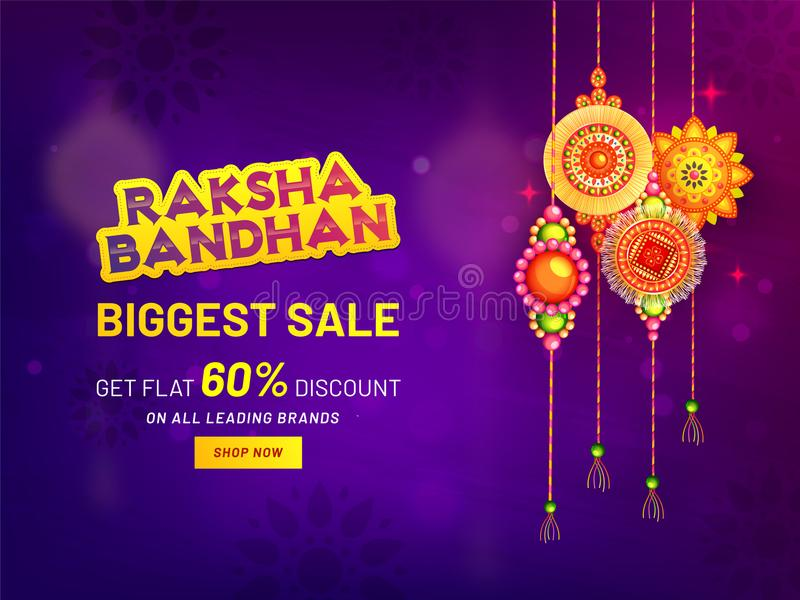 Raksha Bandhan Biggest Sale baner- eller affischdesign royaltyfri illustrationer