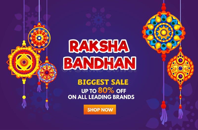 Raksha Bandhan sale banner design. Holiday discount design template. royalty free illustration