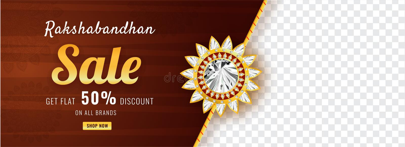 Raksha Bandhan sale social media header or banner design with 50% discount and space for your text. royalty free illustration