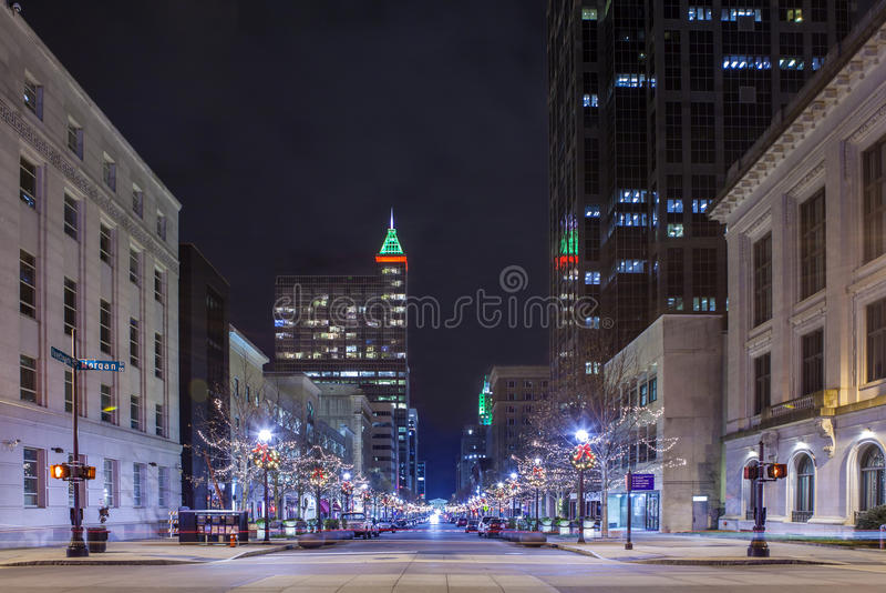 Raleigh bij nacht royalty-vrije stock foto